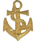 Wrights Iron-On Appliques-Gold Anchor 1-5/8\u0022X2\u0022 1/Pkg