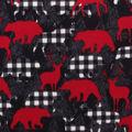 Anti-Pill Plush Fleece Fabric-Pattern Trap Moose Red Black