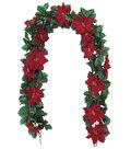 Blooming Holiday Christmas 4\u0027\u0027x66\u0027\u0027 Red Poinsettia & Holly Garland