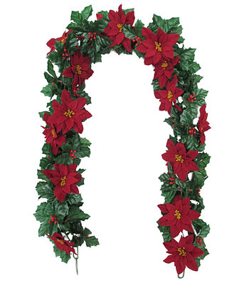 Blooming Holiday Christmas 4''x66'' Red Poinsettia & Holly Garland