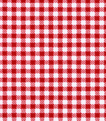 Sportswear Stretch Twill Fabric 57''-Red & White Mini Checks