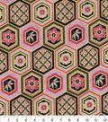 Asian Inspired Cotton Fabric 44\u0022-Diamond Diagonals Metallic