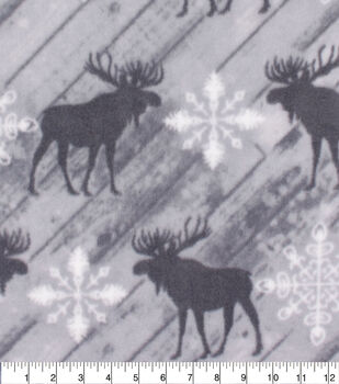 Christmas Anti-Pill Plush Fleece Fabric-Gray Moose & Snowflakes on Wood
