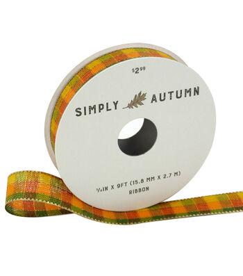 Simply Autumn Ribbon 5/8''x9'-Yellow & Orange Plaid