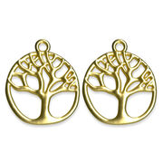 Blue Moon Beads Metal Pendant W Tree Matte Gold, , hi-res