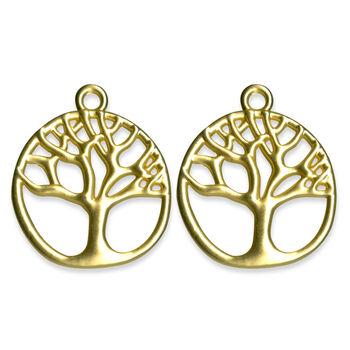 Blue Moon Beads Metal Pendant W Tree Matte Gold