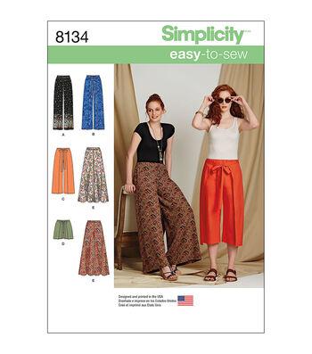 Simplicity Pattern 8134 Misses' Pants & Shorts-Size H5 (6-8-10-12-14)