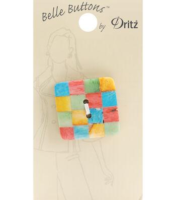 Belle Button-Natural Multi Colored Square 34Mm