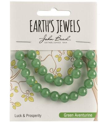 Earth's Jewels Semi-Precious Round 8mm Beads-Green Aventurine