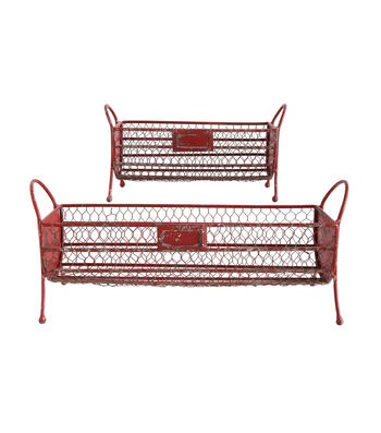 3R Studios Christmas 2 pk Wire Footed Baskets-Red