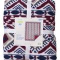 No Sew Fleece Throw 72\u0022-Wine Aztec