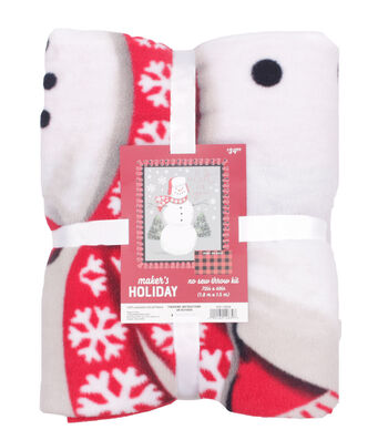 "No Sew Fleece Throw 72""-Snowman"