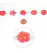 Blue Moon Strung Mother of Pearl Shell Beads,Flower,Red AB,Carved, , hi-res