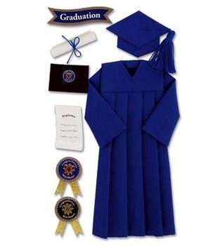 Jolee's Boutique Le Grande Ornate Stickers-Graduation Cap & Gown/Blue