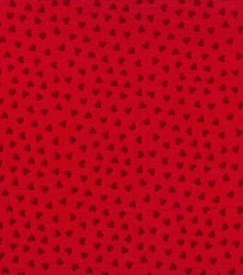 Valentine's Day Cotton Fabric-Red Flocked Hearts