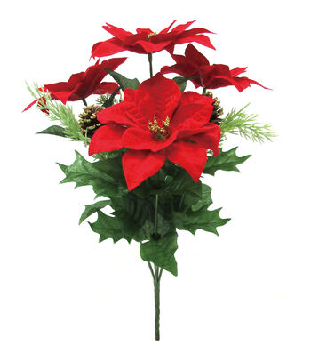 Blooming Holiday Christmas Poinsettia & Glitter Tipped Pinecone Bush