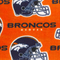 Denver Broncos Fleece Fabric -Orange