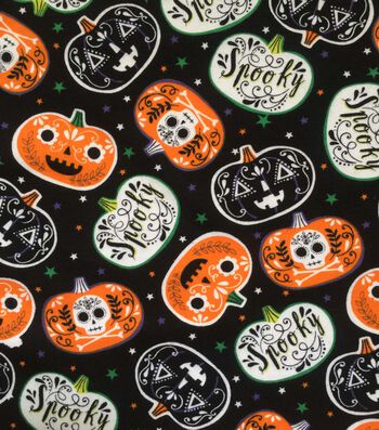 "Doodles Halloween Cotton Interlock Fabric 57""-Spooky Pumpkins"
