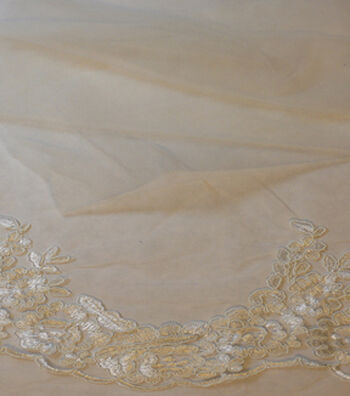 Save The Date Floral Lace Veil Fabric 53''-Eggnog