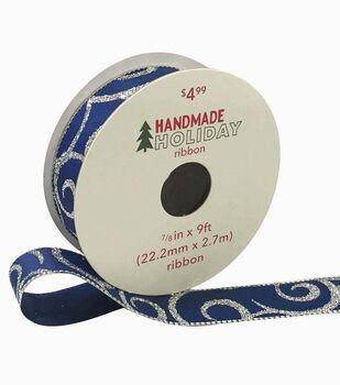 Handmade Holiday Christmas Ribbon 7/8''x9'-Silver Glitter Swirls