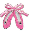 Wrights Iron-On Applique-Pink Ballet Slippers 1-1/2\u0022X1-1/2\u0022 1/Pkg