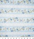 Premium Cotton Vintage Fabric-Floral Lace Stripe Light Blue