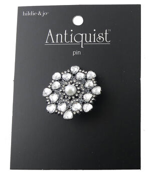 hildie & jo Antiquist Circle Silver Pin-Pearl & Clear Crystals
