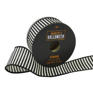 Maker's Halloween Decor Ribbon 1.5''x12'-Black & White Stripes