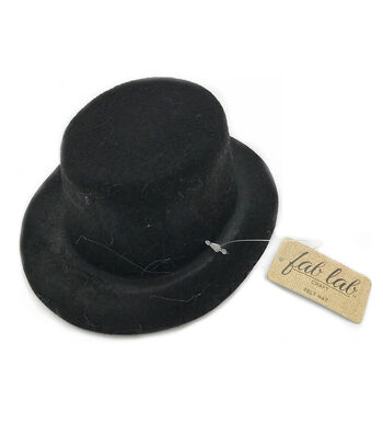 5 inch Black Felt Top Hat