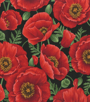 Premium Cotton Fabric-Bold Red Poppies on Black