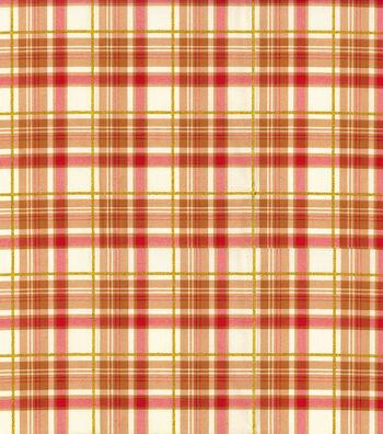 "Harvest Cotton Fabric 44""-Orange Harvest Bounty Plaid"