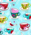Novelty Cotton Fabric-Birds & Tea Cups