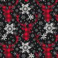 Christmas Cotton Fabric-Buffalo Check Stag Head