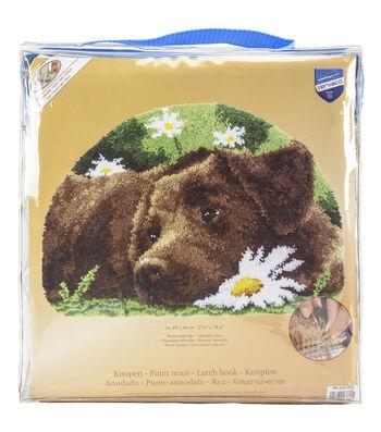 Vervaco 27.5''x18.5'' Shaped Rug Latch Hook Kit-Chocolate Labrador