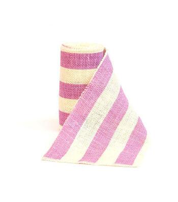 "Fresh Picked Spring 5""x15ft Burlap Ribbon-Lavender Stripe"