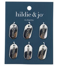 Blue Moon Beads 6 pk Tag Silver Charms-Assorted Words