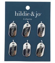 Blue Moon Beads 6 pk Tag Silver Charms-Assorted Words, , hi-res