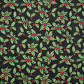 Christmas Glitter Cotton Fabric-Holly & Berries on Wood