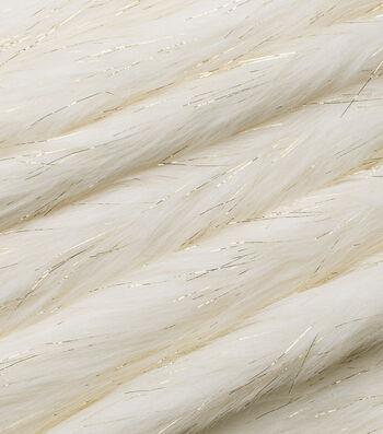 "Fashion Faux Fur Fabric 59""-Ivory Gold Metallic"