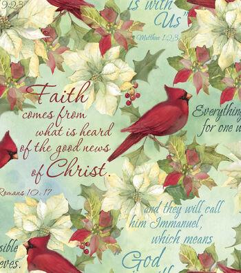 Susan Winget Cotton Print Fabric 42''-Cardinals & Scripture