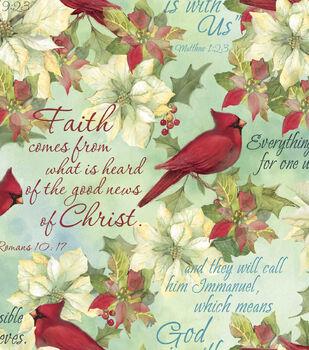 Susan Winget Cotton Print Fabric -Cardinals & Scripture