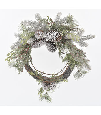 Blooming Holiday Christmas 22'' Frosted Pinecone & Greenery Wreath