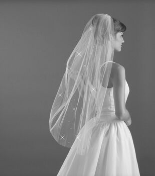 "Wilton 38"" Blunt Edge Rhinestone Bridal Veil"