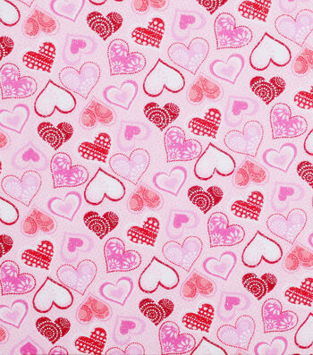 Valentine's Day Glitter Fabric -Patterned Hearts