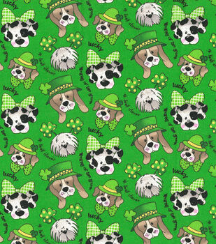 St. Patrick's Day Glitter Print Fabric -Green With St. Pats Pups