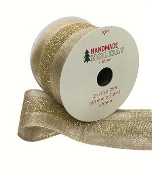 Handmade Holiday Mesh Ribbon 2.5''x25'-Gold Glitter with Gold Edge