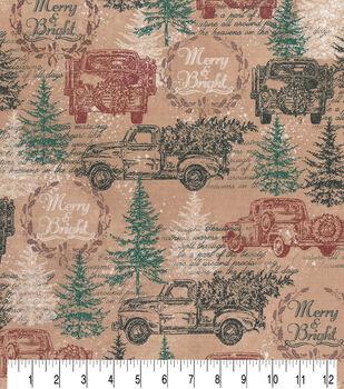 Christmas Cotton Fabric-Merry & Bright Trucks Brown