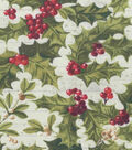 Christmas Glitter Cotton Fabric-Holly & Berry on Rustic