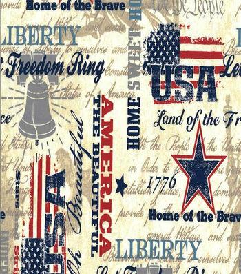 "Patriotic Cotton Fabric 44""-Faded Glory"