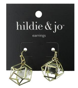 hildie & jo Geometric Gold Earrings-Clear Crystal